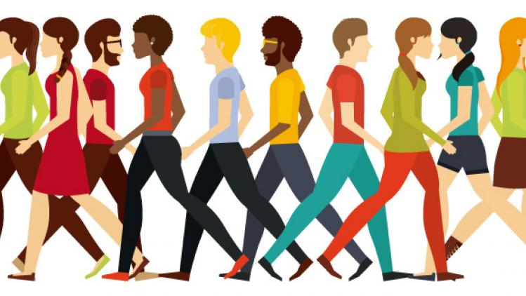 Illustration of group of people walking in different directions