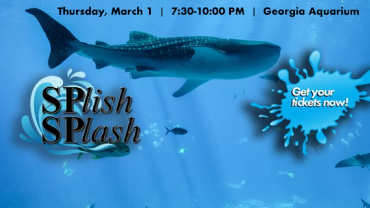 Image of Whale Shark at the Georgia Aquarium with the SPlish SPlash logo