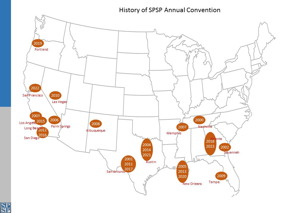 Map of Past SPSP Conventions